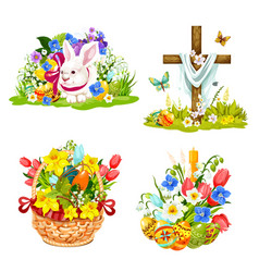 Easter eggs bunny and flowers in wicker icons vector