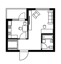 Floor plan of a house with furniture vector