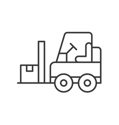 Fork lift car with parcel line icon logistic and vector