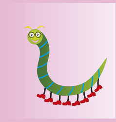 Funny centipede in glasses vector