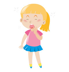 Girl in pink shirt yawning vector