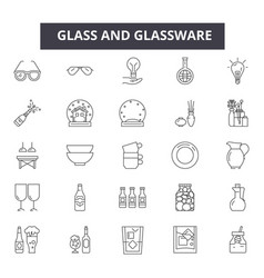 glass and glassware line icons for web and mobile vector image