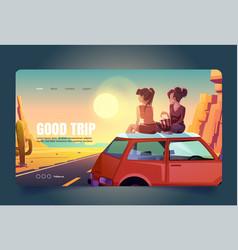 Good trip cartoon landing girlfriends on car roof vector