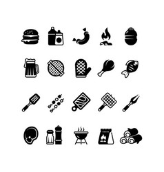 grill outdoor kitchen icons family bbq summer vector image