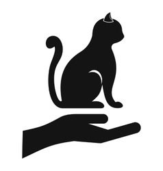 Hand holding a cat icon simple style vector