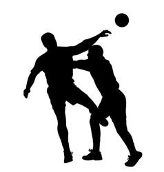 handball player blocking opponent player vector image