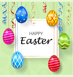 Happy easter background decorative text hanging vector