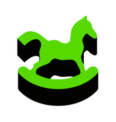 Horse toy sign green 3d icon with black vector