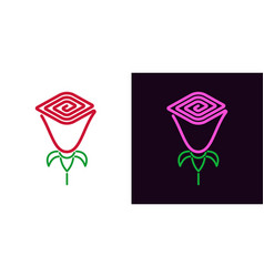 icon of rose flower in outline style vector image
