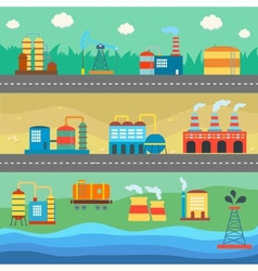 Industrial buildings factories horizontal banners vector image