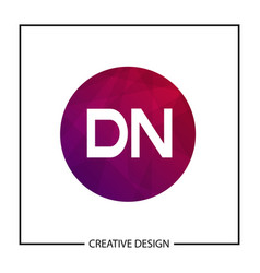 initial letter dn logo template design vector image
