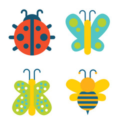Insects collection creatures vector