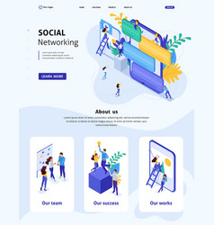 Isometric website template landing page vector