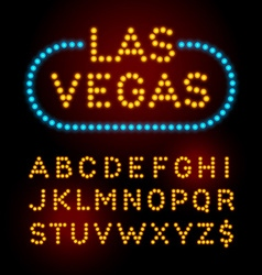 Light bulb font alphabet with casino effect vector