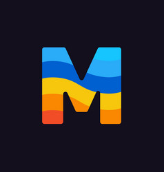 logo letter m colorful blue red orange vector image