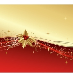 Merry Christmas card with gold holly vector image