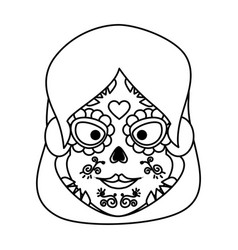 mexica woman head with catrina mask vector image