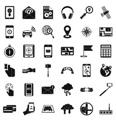 Mobile widget icons set simple style vector