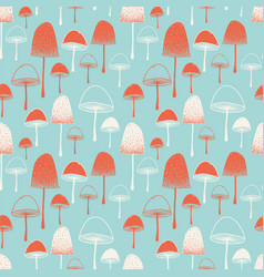 mushrooms seamless pattern red blue white vector image