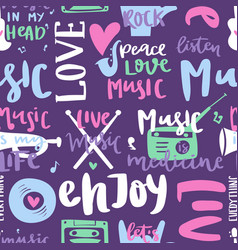 Music love motivation lables badges seamless vector