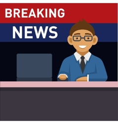 Newscaster with computer breaking news vector