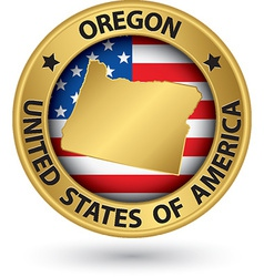 Oregon state gold label with state map vector