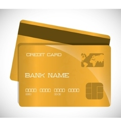 Payment with gold credit card design vector