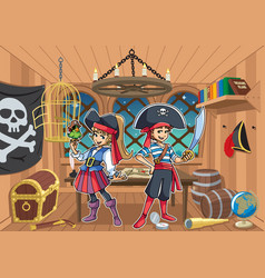 pirate kids in cabin vector image