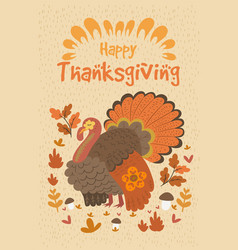 poster with turkey in warm colors and words vector image