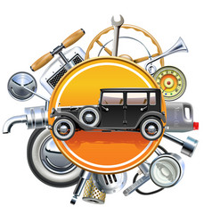 Retro car parts with old automobile vector