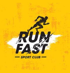 Run fast sport club creative vector