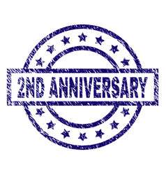 Scratched textured 2nd anniversary stamp seal vector