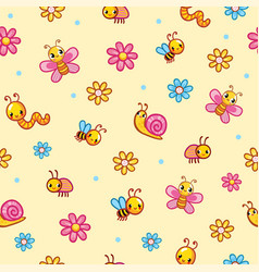 Seamless on with worm snail vector