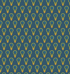 Seamless pattern of bulb with brain inside on blue vector image