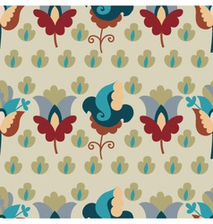 Seamless pattern with repetitive flowers vector