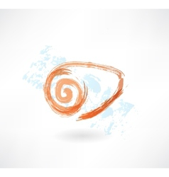Seashell grunge icon vector