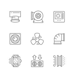 Set line icons ventilation vector