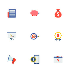Set of financial icons flat style symbols with vector