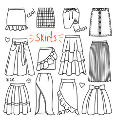 Set of hand drawn women clothes skirts vector