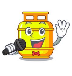 Singing creative in gas cartoon tank container vector