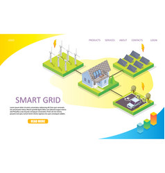 smart grid landing page website template vector image