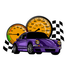 Speeding race car with abstract motion blur lines vector