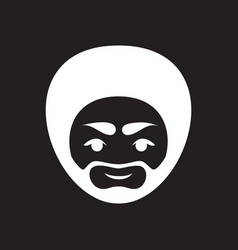 Stylish black and white icon indian man vector