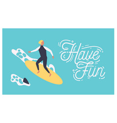 summer postcard template with male surfer on vector image
