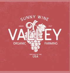 sunny wine valley shop logo winery logo template vector image