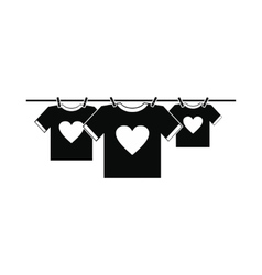 T-shirts with heart icon vector image