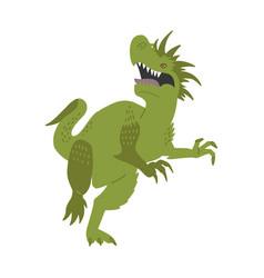 Terrible dinosaur is roaring green dino hand vector