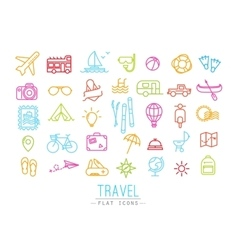 Travel flat color icons vector