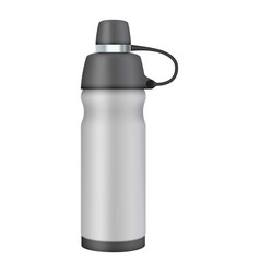 Travel thermo flask mockup realistic style vector