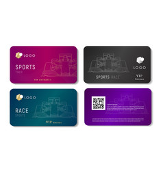 vip bussines card with race sport car linear vector image
